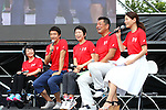 (L-R) <br /> Aki Taguchi, <br /> Nobuharu Asahara, <br /> Erika Akiyama, <br /> Hiroshi Yamamoto, <br /> AUGUST 6, 2016 : <br /> The Tokyo Organising Committee of the Olympic and Paralympic Games and the Tokyo Metropolitan Government <br /> hold a promotion event &quot;Tokyo 2020 Live Sites in 2016-from Rio to Tokyo&quot; at the Showa kinen park in Tokyo, Japan. <br /> The Live Sites will be held as an official program of the Olympic and Paralympic Games. <br /> At the Live Sites, visitors will be able to view exciting live broadcasts shown on a jumbo screen outside competition venues, <br /> enjoy stage events, and experience Olympic/Paralympic sports on a trial basis. <br /> (Photo by AFLO SPORT)
