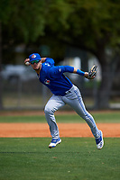 Toronto Blue Jays Glenn Santiago (25) throws to first base during an exhibition game against the Canada Junior National Team on March 8, 2020 at Baseball City in St. Petersburg, Florida.  (Mike Janes/Four Seam Images)