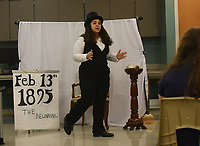 NWA Democrat-Gazette/FLIP PUTTHOFF<br /> HISTORIC PERFORMANCE<br /> Jada Portillo, a sophomore at Rogers New Tech High School, competes Saturday March 3 2018 in the performance category at the regional National History Day contest held at Northwest Arkansas Community College. Her performance was about the trial of Irish poet and playwright Oscar Wilde. Some 450 area middle school and high school students competed in National History Day, hoping to advance to state competition. Categories included performance, exhibits, websites, documentaries and papers.