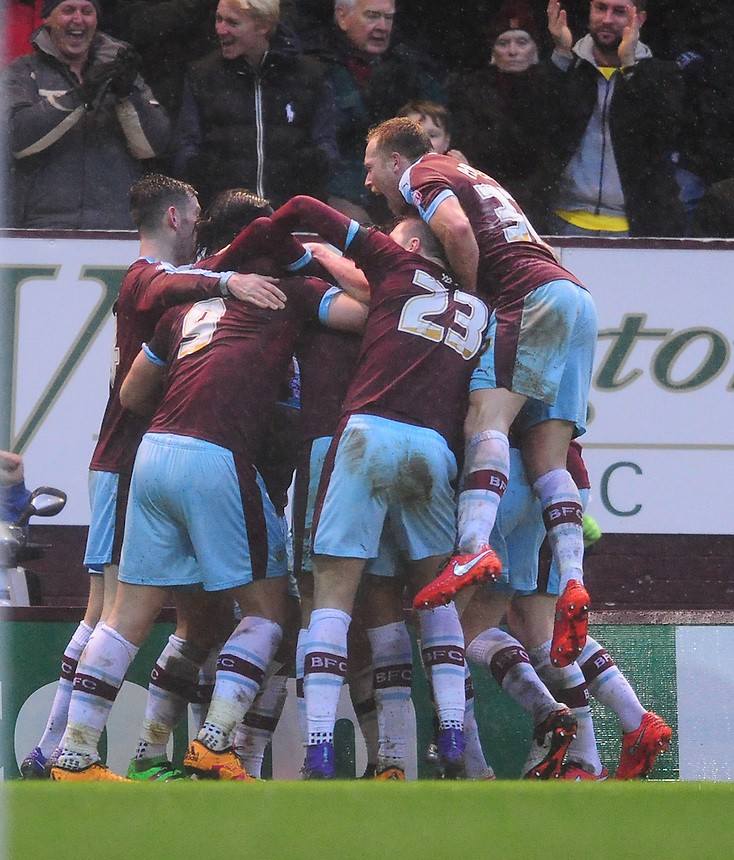 Burnley's Sam Vokes celebrates scoring the opening goal with his team-mates<br /> <br /> Photographer Chris Vaughan/CameraSport<br /> <br /> Football - The Football League Sky Bet Championship - Burnley v Hull City - Saturday 6th February 2016 - Turf Moor - Burnley <br /> <br /> &copy; CameraSport - 43 Linden Ave. Countesthorpe. Leicester. England. LE8 5PG - Tel: +44 (0) 116 277 4147 - admin@camerasport.com - www.camerasport.com