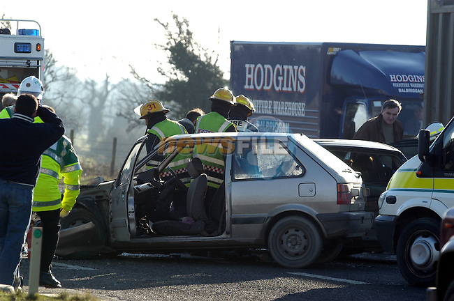 3 car pile up on the M1/N1 south of Drogheda brought traffic to a stand still for over an hour on Saturday Morning as A fleet of Ambulances ferried the injured to Our Lady of Lourdes Hospital in Drogheda oon Spinal Boards..Pic Fran Caffrey Newsfile