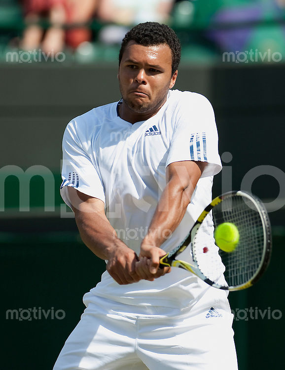 Jo-Wilfried Tsonga (FRA) plays against Robert Kendrick (USA) on Court 1. The Wimbledon Championships 2010 The All England Lawn Tennis & Croquet Club  Day 2 Tuesday 22/06/2010