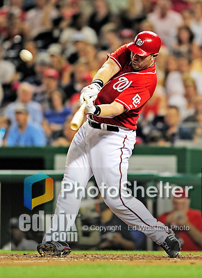 24 September 2010: Washington Nationals first baseman Adam Dunn hits his second of two consecutive home runs against the Atlanta Braves at Nationals Park in Washington, DC. The Nationals defeated the Braves 8-3 to take the first game of their 3-game series. Mandatory Credit: Ed Wolfstein Photo