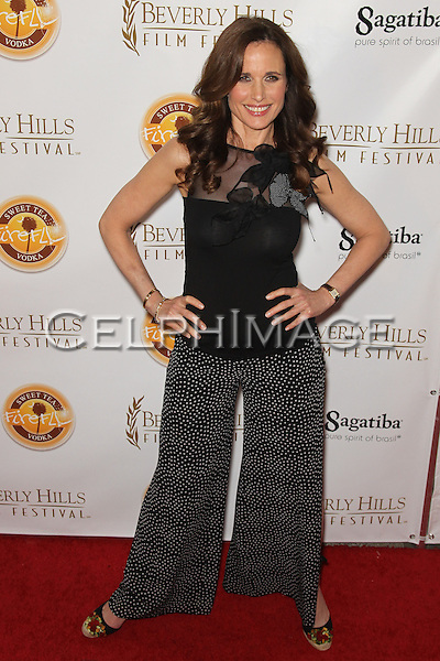"ANDIE MACDOWELL. Red carpet arrivals to opening night of the 10th Annual International Beverly Hills Film Festival, featuring the World Premiere of ""As Good As Dead,"" starring Andie MacDowell and Carey Elwes, at the Clarity Theater in Beverly Hills. Beverly Hills, CA, USA. April 14, 2010."