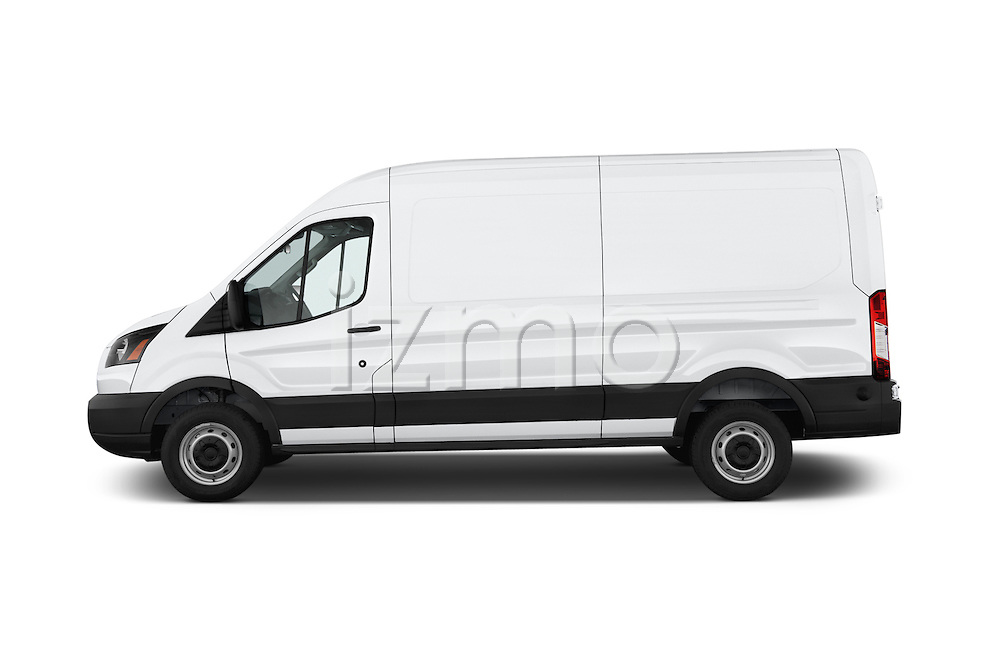 Car Driver side profile view of a 2018 Ford Transit 250 Van Med Roof Sliding Pass. 130 WB 2 Door Van Side View
