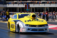 Sept. 21, 2013; Ennis, TX, USA: NHRA pro stock driver Erica Enders-Stevens during qualifying for the Fall Nationals at the Texas Motorplex. Mandatory Credit: Mark J. Rebilas-