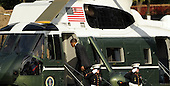 United States President Barack Obama departs from Walter Reed National Military Medical Center after visiting wounded service members, on Monday, October 10, 2011, in Bethesda, Maryland. .Credit: Leslie E. Kossoff / Pool via CNP
