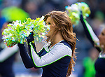 Seattle Seahawks dance team, the Seagal, perform during a time out in the game against the  St. Louis Rams at CenturyLink Field in Seattle, Washington on December 28, 2014.  The Seahawks officially wrapped up the No. 1 seed in the NFC playoffs shortly after beating the Rams, 20-6. Despite the Cowboys and Packers also winning to finish 12-4, the Seahawks (12-4) won the multi-team tiebreaker and earned home-field advantage throughout the playoffs for the second consecutive season.  ©2014. Jim Bryant Photo. All Rights Reserved.