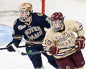 Jared Beers (ND - 29), Danny Linell (BC - 10) - The Boston College Eagles defeated the visiting University of Notre Dame Fighting Irish 4-2 to tie their Hockey East quarterfinal matchup at one game each on Saturday, March 15, 2014, at Kelley Rink in Conte Forum in Chestnut Hill, Massachusetts.