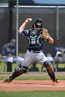 Tampa Bay Rays minor league catcher Taylor Hawkins (52) during an extended spring training game against the Boston Red Sox on April 16, 2014 at Charlotte Sports Park in Port Charlotte, Florida.  (Mike Janes/Four Seam Images)