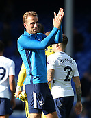 9th September 2017, Goodison Park, Liverpool, England; EPL Premier League Football, Everton versus Tottenham; Harry Kane of Tottenham applauds the visiting fans after the final whistle