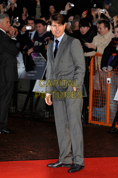 "TOM CRUISE.The Times BFI London Film Festival: ""Lions For Lambs"" - world premiere, Odeon Leicester Square, London, England..October 22nd, 2007.full length grey gray suit hand in pocket .CAP/PL.©Phil Loftus/Capital Pictures"