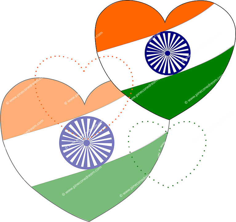 Stock vector background: Indian flag in heart shapes. <br />