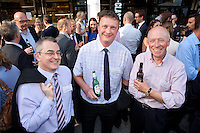 A bit too warm for jackets! Pictured from left are Mark Cooper and Joe Sadler of Elwell Watchorn & Saxton and John Field-Richards of Deloitte