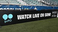 Cary, North Carolina  - Saturday August 05, 2017: go90 signboard prior to a regular season National Women's Soccer League (NWSL) match between the North Carolina Courage and the Seattle Reign FC at Sahlen's Stadium at WakeMed Soccer Park. The Courage won the game 1-0.