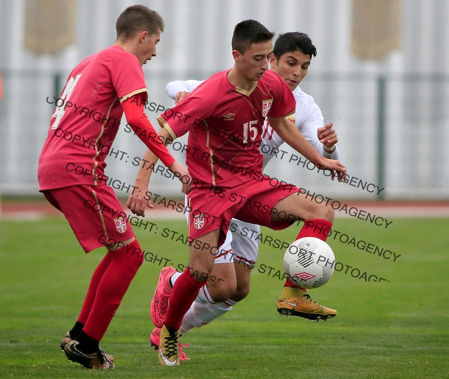 Fudbal soccer friendly match<br /> Srbija U17 v Madjarska U17<br /> Nikola Lakcevic (C)<br /> Stara Pazova, 08.12.2015.<br /> foto: Srdjan Stevanovic/Starsportphoto &copy;