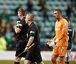 19.12.2018 Hibs v Rangers: Allan McGregor booked after the final whistle