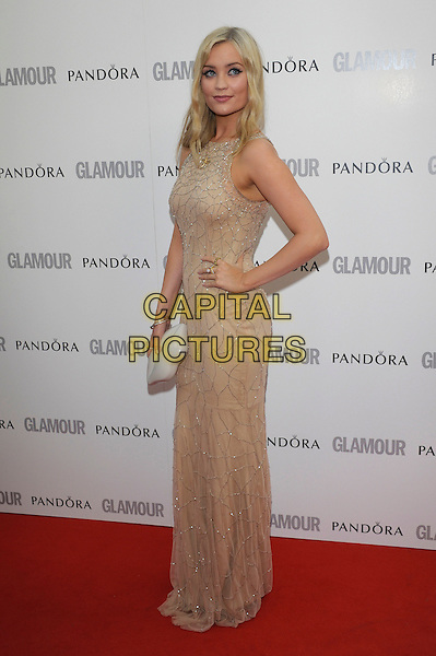 Laura Whitmore.Women Of The Year 2012 - Glamour Awards, Berkeley Square, London, England..29th May 2012.full length beige gold side hand on hip white dress hand on hip sleeveless.CAP/PL.©Phil Loftus/Capital Pictures.