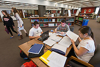 Occidental College students study for finals in the Library, Tuesday, Dec. 11, 2012, Los Angeles, California. (Photo by Marc Campos, Occidental College Photographer)