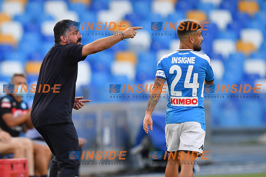 Gennaro Gattuso coach of SSC Napoli give instructions to Lorenzo Insigne of SSC Napoli during the Serie A football match between SSC Napoli and SPAL at stadio San Paolo in Naples ( Italy ), June 28th, 2020. Play resumes behind closed doors following the outbreak of the coronavirus disease. <br /> Photo Carmelo Imbesi / Insidefoto