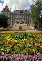 AJ2912, State Capitol, State House, Albany, New York, Flower gardens decorate the grounds of The State Capitol Building in Albany the capital city in the state of New York.