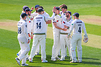 Picture by Alex Whitehead/SWpix.com - 21/04/2018 - Cricket - Specsavers County Championship Div One - Yorkshire v Nottinghamshire, Day 2 - Emerald Headingley Stadium, Leeds, England - Yorkshire's Adam Lyth celebrates with team-mates after catching Notts' Luke Wood.