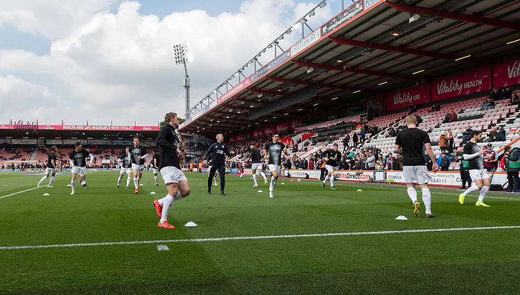 Burnley during the pre-match warm-up<br /> <br /> Photographer David Horton/CameraSport<br /> <br /> The Premier League - Bournemouth v Burnley - Saturday 6th April 2019 - Vitality Stadium - Bournemouth<br /> <br /> World Copyright © 2019 CameraSport. All rights reserved. 43 Linden Ave. Countesthorpe. Leicester. England. LE8 5PG - Tel: +44 (0) 116 277 4147 - admin@camerasport.com - www.camerasport.com