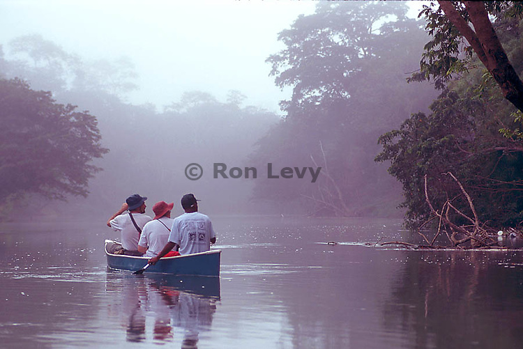 People on canoe safari on Belize River in morning, Belize