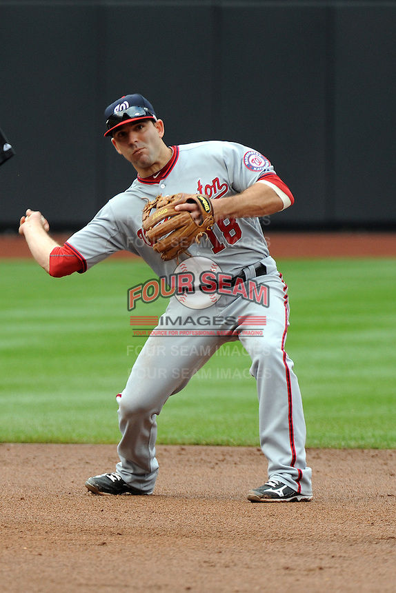 Washington Nationals infielder Danny Espinosa #18 during a game against the New York Mets at Citi Field on September 15, 2011 in Queens, NY.  Nationals defeated Mets11-1.  Tomasso DeRosa/Four Seam Images