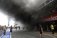 BARCELONA, ESPANHA, 13 MAIO 2012 - GP CATALUNIA - FORMULA 1  incêndio que atingiu o box da escuderia britânica Williams no circuito de Montmelo, uma hora depois da vitória do venezuelano Pastor Maldonado, piloto da equipe. Duas pessoas foram retiradas de ambulância do local até o hospital mais próximo.<br /> foto: Thomas Melzer / PIXATHLON / BRAZIL PHOTO PRESS.