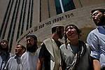 Settlers protest against the arrest of Neria Ofan, a settler in the unauthorized Israeli outpost of Givat Lehava, West Bank, outside an Israeli court in Be'er Sheva. Neria Ofan got a 6-months administrative detention, prior to the implementation of the Israeli pullout from Gaza.