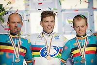 2014 podium: 1st Zdenek Stybar (CZE), 2nd Sven Nys (BEL) & 3rd Kevin Pauwels (BEL)<br /> <br /> 2014 UCI cyclo-cross World Championships, EliteMen