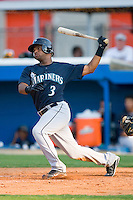 Dwight Britton #3 of the Pulaski Mariners follows through on a solo home run in the 7th inning at Burlington Athletic Park August 4, 2009 in Burlington, North Carolina. (Photo by Brian Westerholt / Four Seam Images)