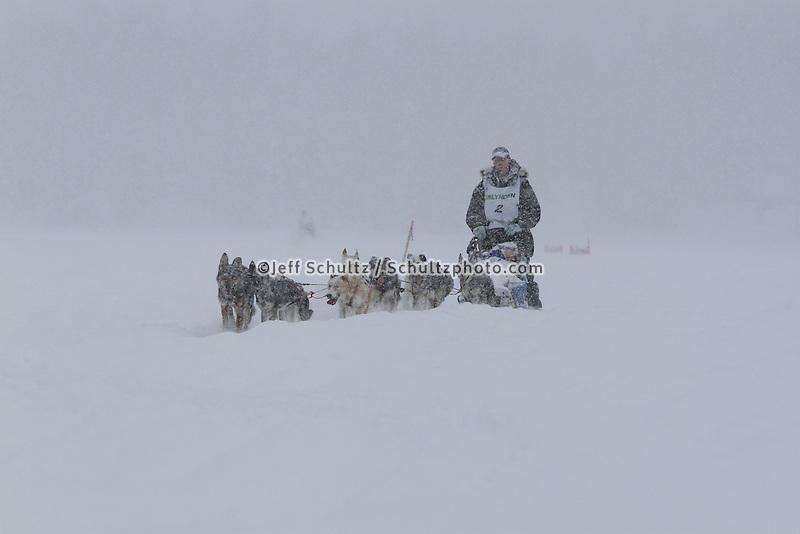 Finish of junior Iditarod  Ben Harper