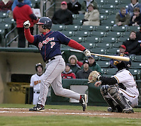 April 12, 2004:  Earl Snyder of the Pawtucket Red Sox, Triple-A International League affiliate of the Boston Red Sox, during a game at Frontier Field in Rochester, NY.  Photo by:  Mike Janes/Four Seam Images