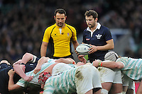 Henry de Berker of Oxford University looks to put the ball into a scrum. The Varsity Match between Oxford University and Cambridge University on December 10, 2015 at Twickenham Stadium in London, England. Photo by: Patrick Khachfe / Onside Images