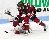 Makenna Newkirk (BC - 19), Maddie Hartman (NU - 27) -  The Boston College Eagles defeated the Northeastern University Huskies 2-1 in overtime to win the 2017 Hockey East championship on Sunday, March 5, 2017, at Walter Brown Arena in Boston, Massachusetts.