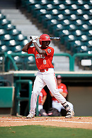Canadian Junior National Team Dasan Brown (8) at bat during a Florida Instructional League game against the Atlanta Braves on October 9, 2018 at the ESPN Wide World of Sports Complex in Orlando, Florida.  (Mike Janes/Four Seam Images)