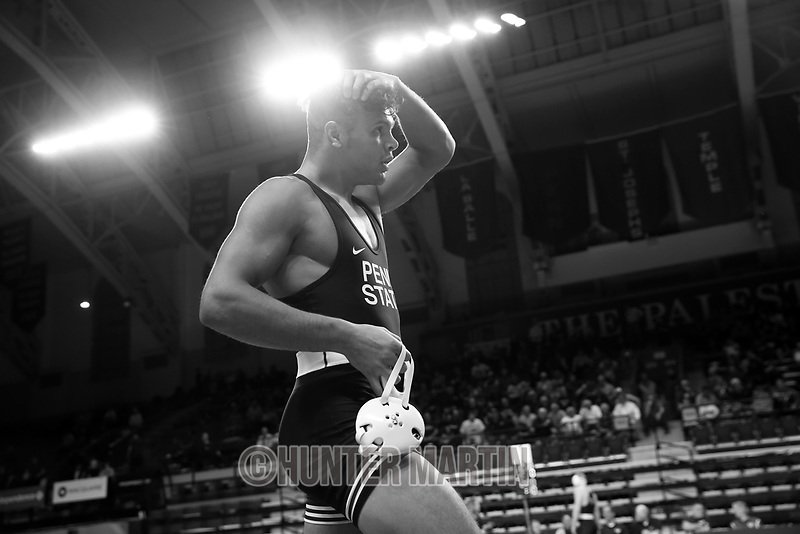 PHILADELPHIA, PA - NOVEMBER 18: Shakur Rasheed of the Penn State Nittany Lions walks off the mat after winning the 184 pound championship match at the Keystone Classic on November 18, 2018 at The Palestra on the campus of the University of Pennsylvania in Philadelphia, Pennsylvania. (Photo by Hunter Martin/Getty Images) *** Local Caption *** Shakur Rasheed