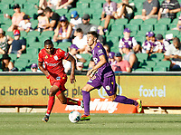 11th January 2020; HBF Park, Perth, Western Australia, Australia; A League Football, Perth Glory versus Adelaide United; Christopher Ikonomidis of the Perth Glory dribbles the ball past Michael Maria of Adelaide United - Editorial Use