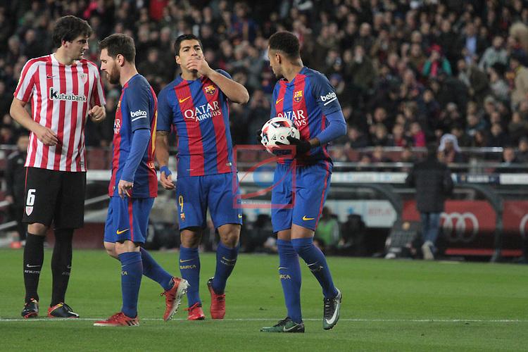 Copa del Rey 2016/2017 - 1/8 final vuelta.<br /> FC Barcelona vs Athletic Club: 3-1.<br /> Messi, Suarez &amp; Neymar.