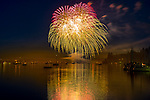 Vashon Island, WA: Night view of Inner Quartermaster Harbor with fireworks, 4th of July