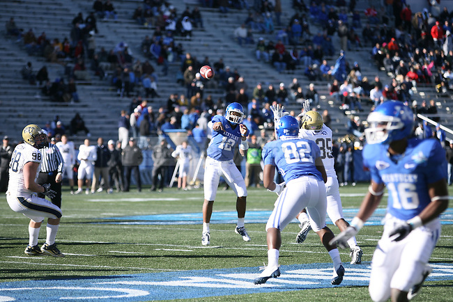 UK quarterback Morgan Newton throws for a completion against Pittsburgh at Legion Field on Saturday, Jan. 8, 2011. Photo by Scott Hannigan | Staff