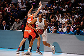 25th March 2018, Madrid, Spain; Endesa Basketball League, Real Madrid versus Valencia; Anthony Randolph (Real Madrid Baloncesto) wins the ball from Aaron Doornekamp (Valencia Basket)