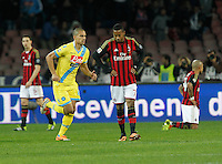 Esultanza  Gokhan Inler  durante l'incontro di calcio di Serie A  Napoli Milan allo  Stadio San Paolo  di Napoli , 08 Febbraio 2014<br /> Foto Ciro De Luca
