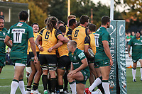 James Cordy Redden of Ealing Trailfinders celebrates with team mates after he scores the opening try during the Greene King IPA Championship match between Ealing Trailfinders and London Irish Rugby Football Club  at Castle Bar, West Ealing, England  on 1 September 2018. Photo by David Horn.