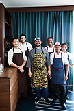 BERMUDA. Hamilton. Hamilton Princess & Beach Club Hotel. Marcus' Restaurant. Portrait of Executive Chef Leonardo Marin and his kitchen staff.