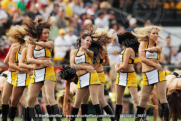 September 11, 2010; Hamilton, ON, CAN; Hamilton Tiger-Cats cheerleaders. CFL football: Montreal Alouettes vs. Hamilton Tiger-Cats at Ivor Wynne Stadium. The Alouettes defeated the Tiger-Cats 27-6. Mandatory Credit: Ron Scheffler. Copyright (c) 2010 Ron Scheffler.