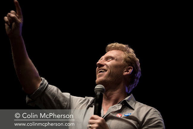 Scottish Hollywood actor Kevin McKidd appearing on stage at A Night for Scotland, a concert at the Usher Hall, Edinburgh staged by supporters of Scottish independence. The concert featured a number of top Scottish musicians and bands all of whom were supporting Scotland's independence from the rest of the United Kingdom. On the 18th of September 2014, the people of Scotland voted in a referendum to decide whether the country's union with England should continue or Scotland should become an independent nation once again.