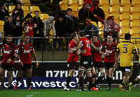 The Crusaders celebrate Robbie Fruean's try. Super 15 rugby match - Crusaders v Hurricanes at Westpac Stadium, Wellington, New Zealand on Saturday, 18 June 2011. Photo: Dave Lintott / lintottphoto.co.nz